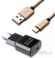 Зарядное устройство Grand-X Qualcomm Quick Charge 3.0 + Cable USB Type C Cu 3A 1m (CH-550TC)