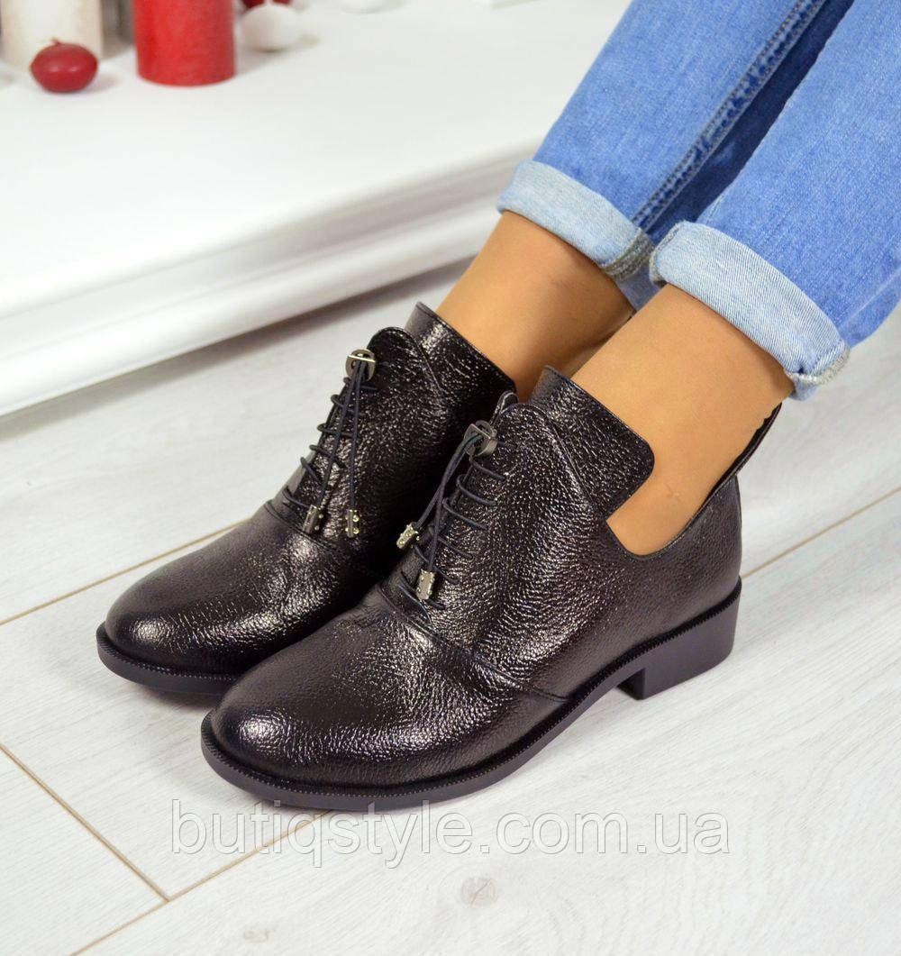 Красивые черные женские туфли натур кожа H@rmEs