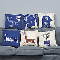 45 х 45 см Супер Soft Плюшевый современный минималистский стиль Дир Северный Хлопок Подушка для домашнего дивана Decration