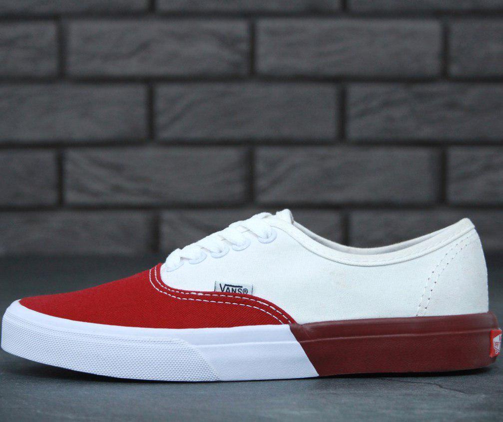 Кеды Vans AUTHENTIC White/Red, (унисекс), вансы, венсы