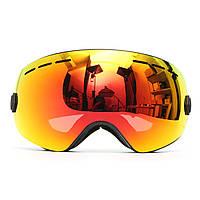 Мотоцикл Лыжные очки Анти Противотуманные УФ-защиты Двойной объектив Внедорожник Сноуборд Черная рамка