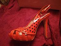 Женские босоножки красные лаковые в черный горох натуральная  кожа MIA MAV, фото 1