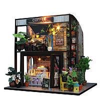 DIY Коттедж Кукольный дом Кофейный бар Мебель ручной работы Кукольный дом с Светодиодный