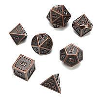 ECUBEE Твердый металлический полиэдр Кости Античный цвет Ролевая игра RPG Gadget 7 Кости Набор с Сумка