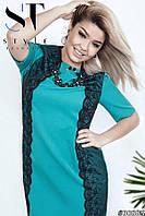 Бирюзовое свободное летнее женское платье со вставками из кружева и органзы.  Арт-6233/66