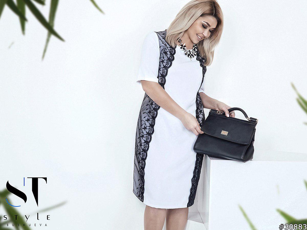 5528b11990e Белое свободное летнее женское платье со вставками из кружева и органзы.  Арт-6233