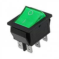 Переключатель с подсветкой широкий, зеленый, 6pin