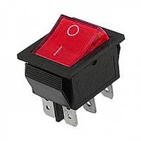 Переключатель с подсветкой широкий, красный, 6pin