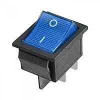 Переключатель с подсветкой широкий, синий, 4pin