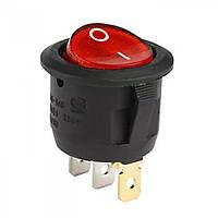 Переключатель авто с подстветкой on-off круглый, красный, 3pin (12V)