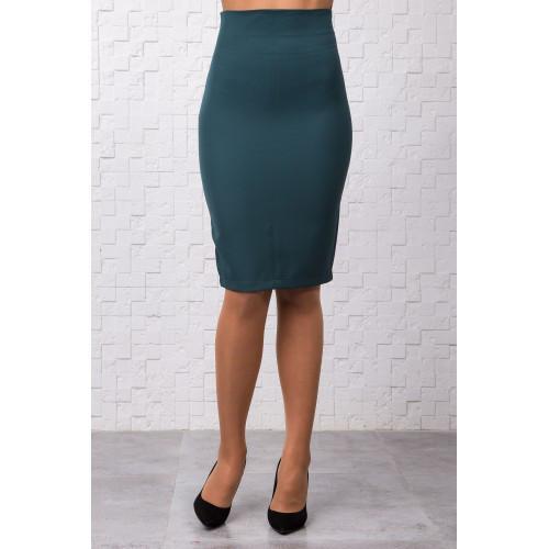 Зеленая юбка-карандаш, классического кроя, с молнией сзади