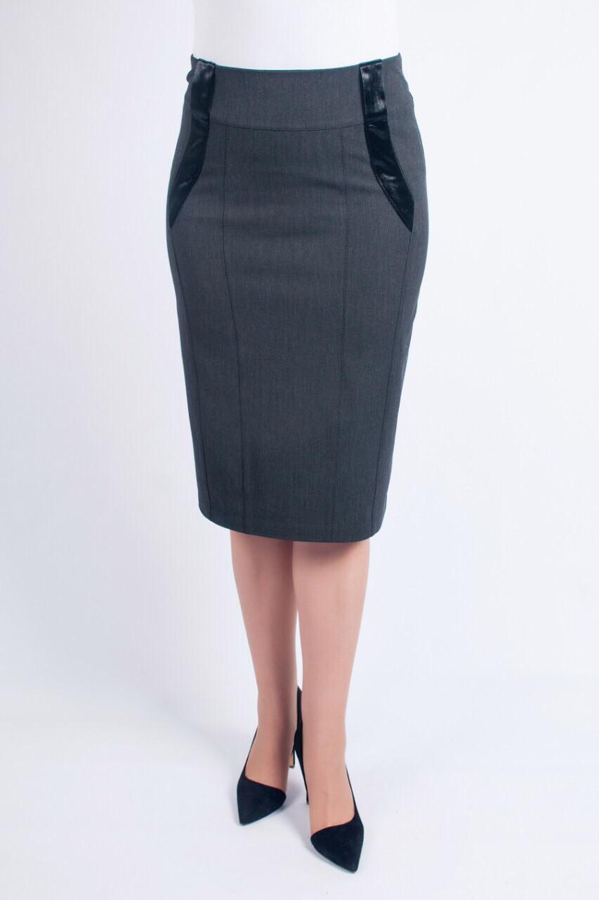 Классическая женская юбка-карандаш темно-серого цвета, с высокой посадкой. Размеры: 48-60