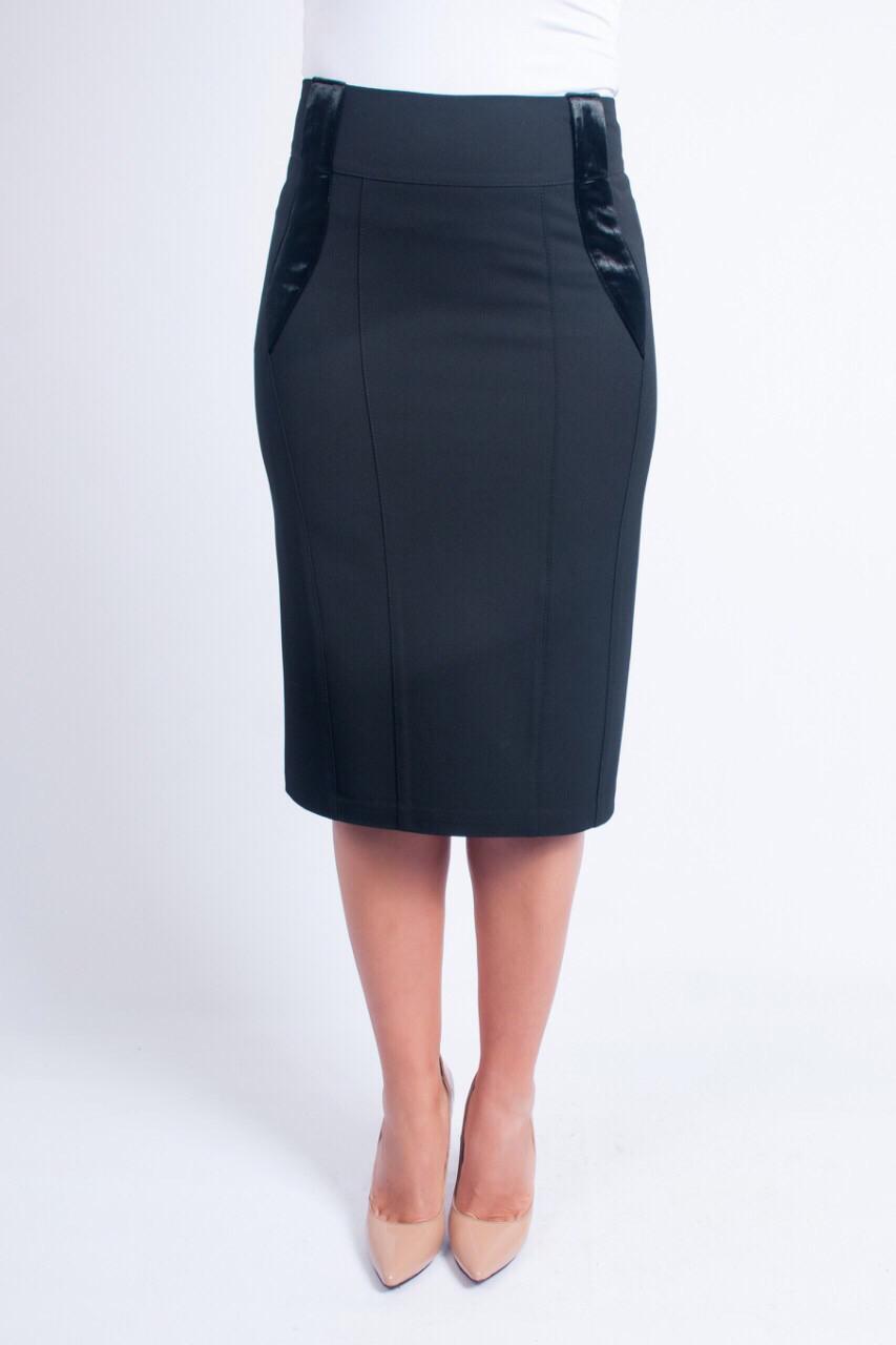 Классическая черная юбка-карандаш, увеличенных размеров, выполненная из турецкого габардин