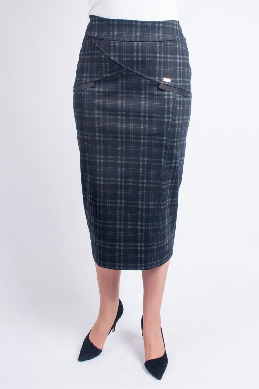 Модная женская юбка в клетку, увеличенных размеров, длины миди
