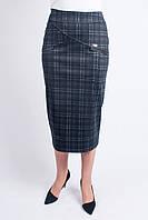Модная женская юбка в клетку, увеличенных размеров, длины миди, фото 1