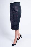 Черная приталенная юбка увеличенных размеров, с клеточкой бордового цвета, фото 1