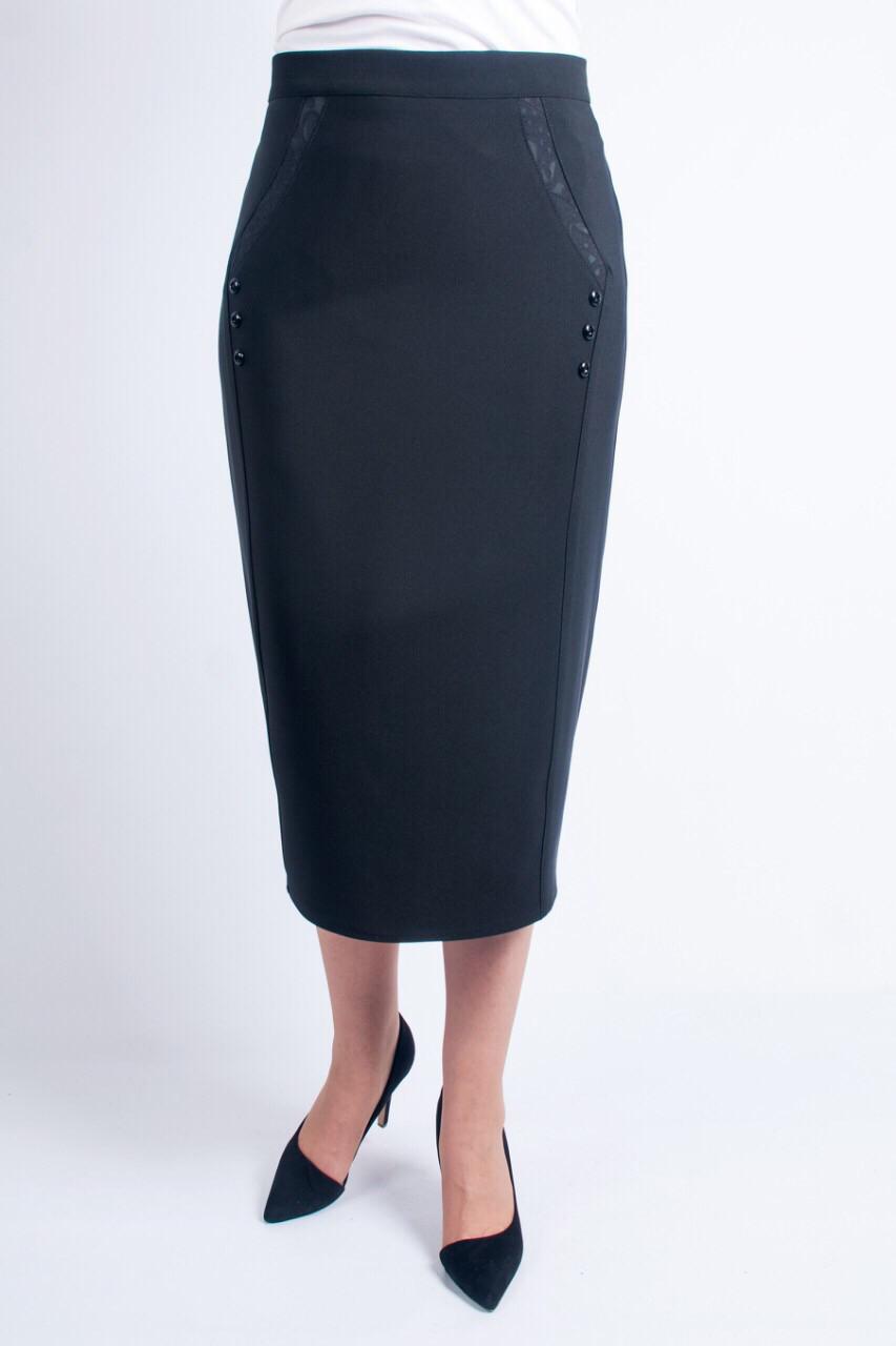 Классическая черная юбка приталенного силуэта увеличенных размеров. Размеры: 52-62