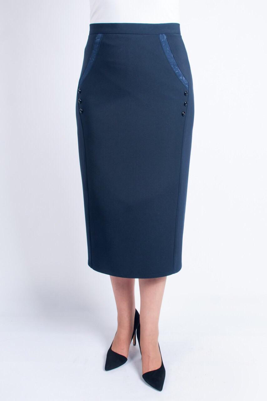 Качественная классическая юбка-миди синего цвета, с высокой посадкой. Размеры: 52-62
