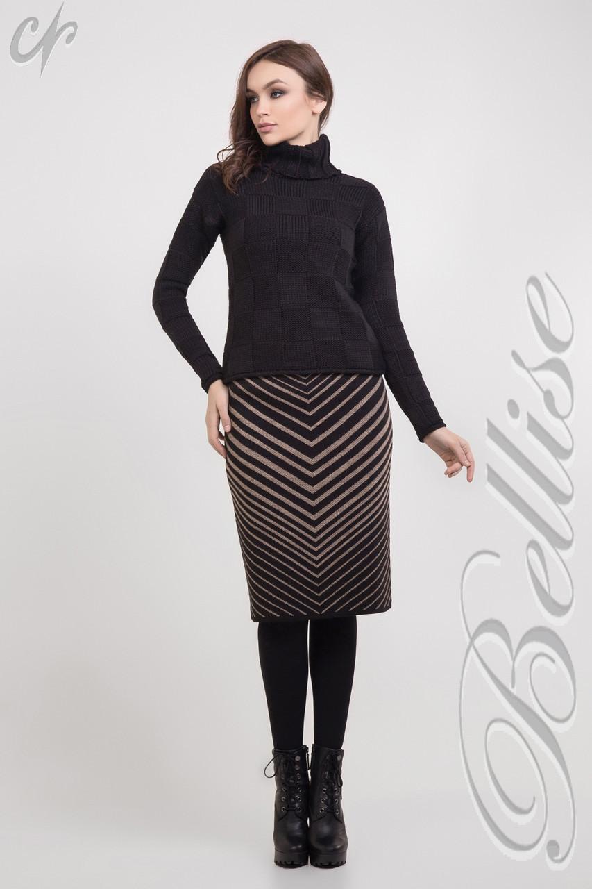 Вязаная черная юбка до колен, прямого силуэта, с коричневыми полосками