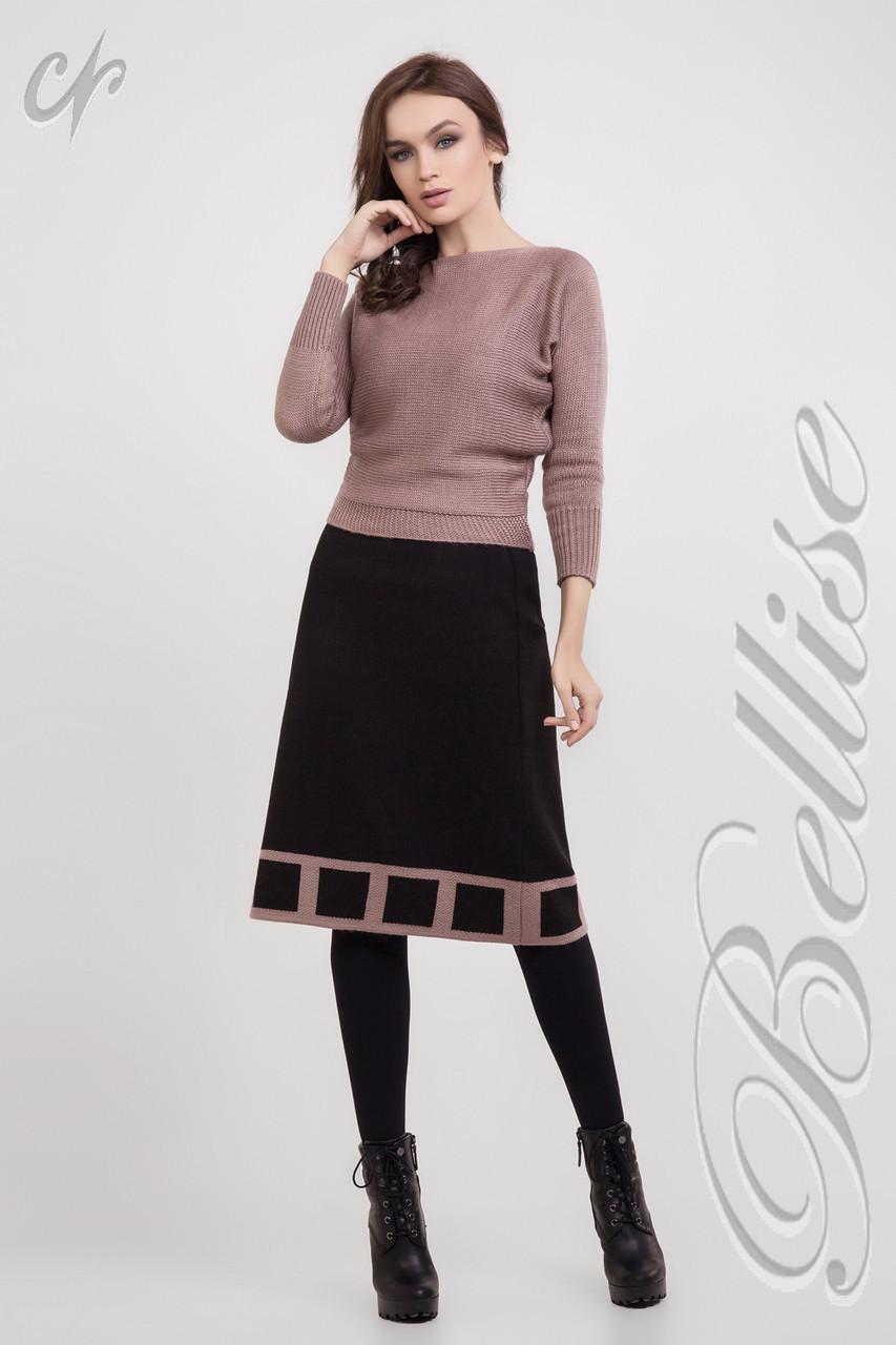 Тепла вязаная юбка-трапеция черного цвета. Размеры: 42-52
