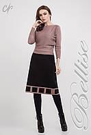 Тепла вязаная юбка-трапеция черного цвета. Размеры: 42-52, фото 1