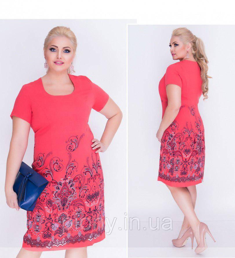 3bd620a1312 Женское Платье лен узор БАТАЛ - Интернет-магазин