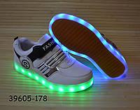Кроссовки для мальчика со светящейся LED подошвой с USB кабелем 34, 35 размеры