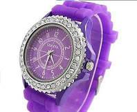 Часы Женева в стразах серебряный корпус : Фиолетовые