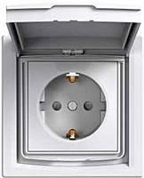 Розетка IP44 вологозахищена з з/к з кришкою біла Asfora EPH3100321