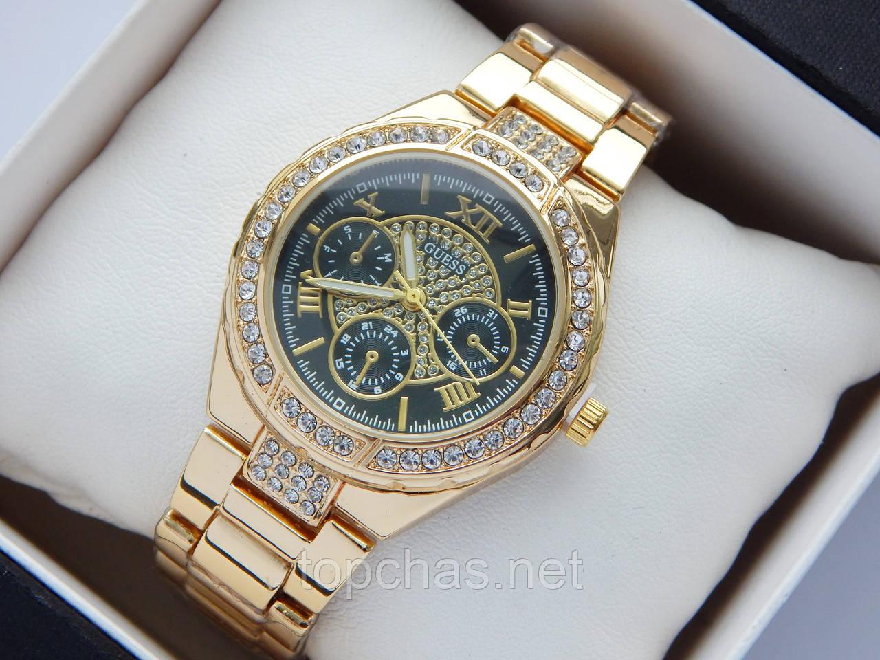 3a149175 Женские наручные часы Guess золотого цвета, черный циферблат - Top Chas -  Интернет магазин Вашего