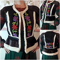 Искусственная жилетка с национальной вышивкой, авторская работа, 42-46 р-ры, 3500 гр.