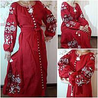 """Льняное платье с вышивкой """"Анита"""" для женщин, 40-50 р-ры, 2400\2200 (цена за 1 шт. + 200 гр)"""