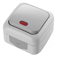 Выключатель накладной серый с подсветкой Palmiye Viko, 90555519