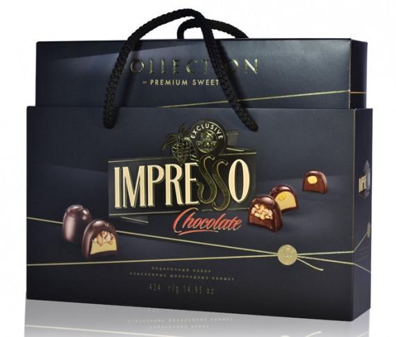 Подарочный набор шоколадных конфет «Impresso», черный 424гр