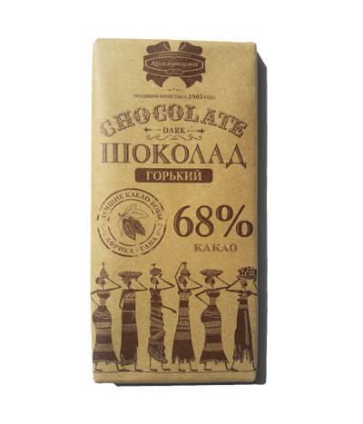 Шоколад «Коммунарка» горький 68% в крафтовой упаковке 90г (Беларусь), фото 2