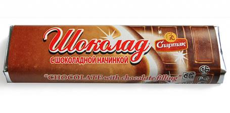 Шоколадний батончик темний з шоколадною начинкою 48г Спартак, фото 2
