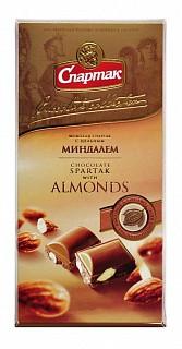 Шоколад Спартак молочный с цельным миндалём 90гр