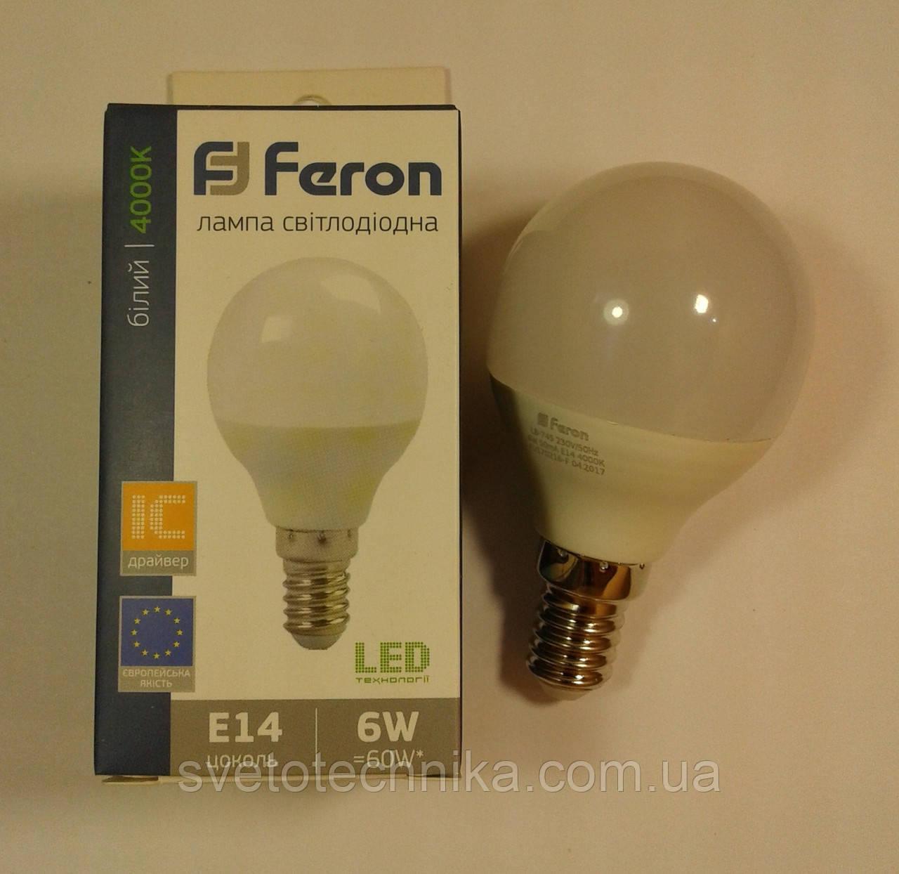 Светодиодная лампа Feron LB745 E14 6W 4000К