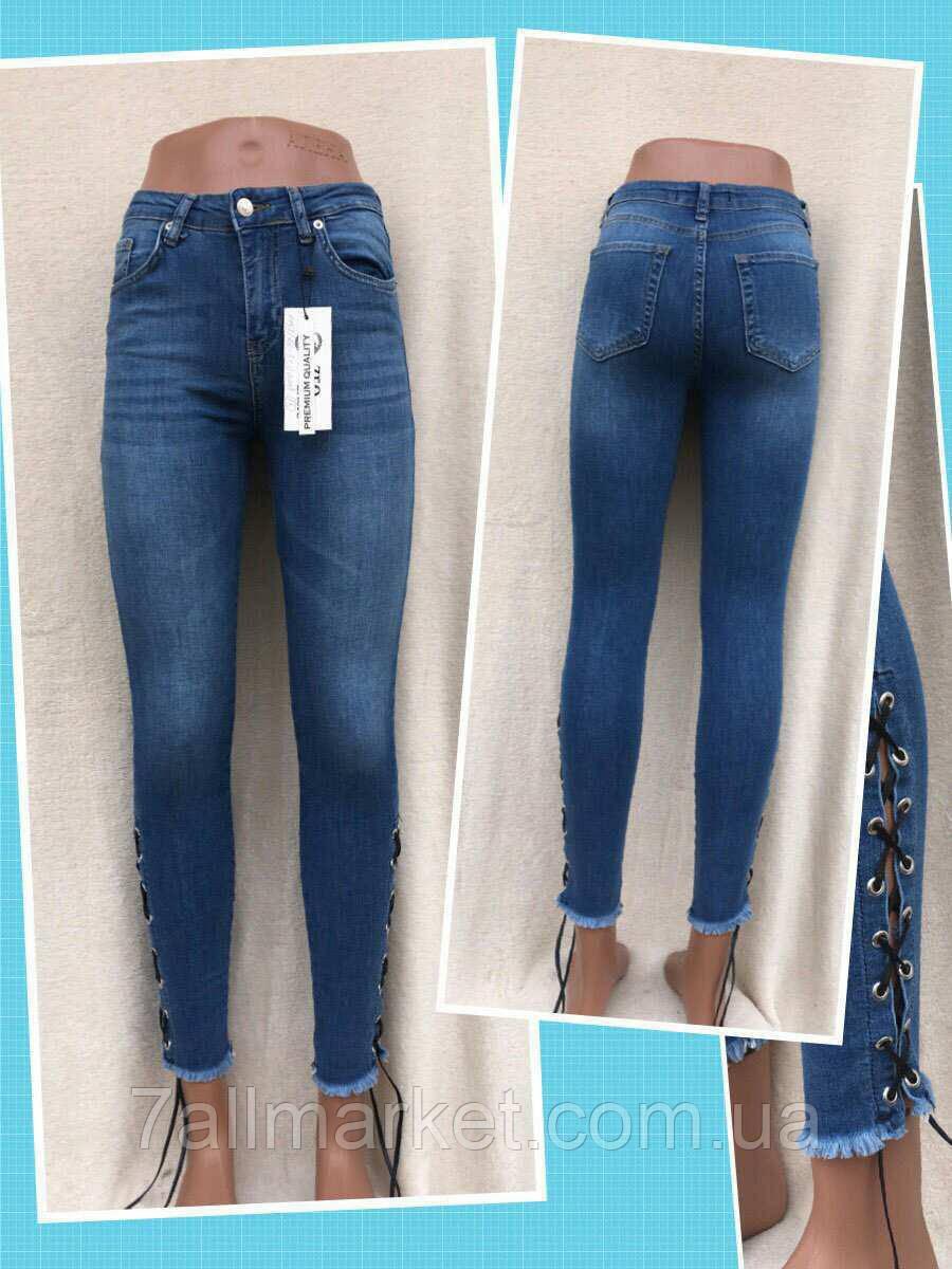 """Джинсы-американки женские с шнуровкой НОВИНКА, размеры 26-31 Серии """"Jeans Style """" купить оптом в Одессе 7 км"""