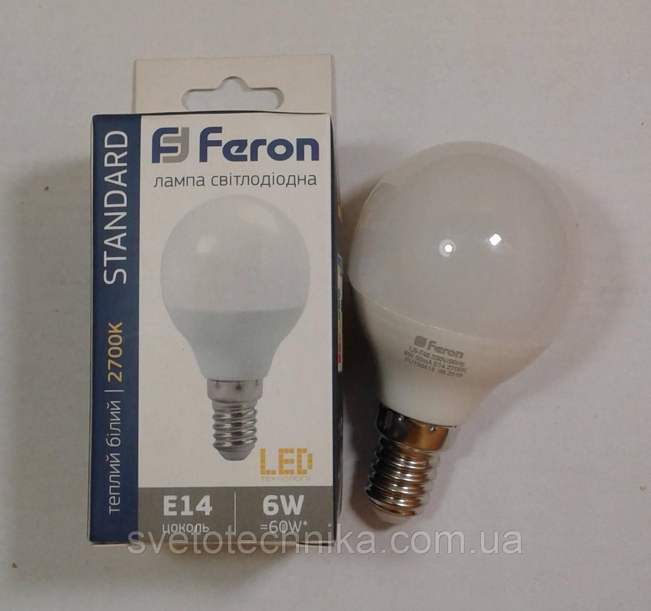 Светодиодная лампа Feron LB745 E14 6W 2700К