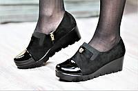 Туфли женские весна на платформе черные искусственная замша лак тракторная подошва (Код: М1058)