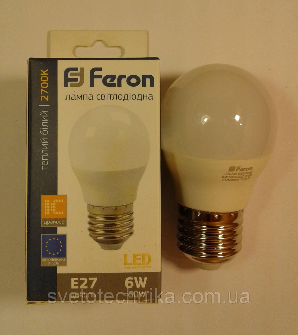Светодиодная лампа Feron LB745 E27 6W  2700К