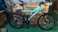 Горный подростковый велосипед 26 дюйма  Azimut Tornado в максимальной комплектации  голубой ***