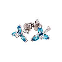 Серьги-пуссеты «Трилистник» со вставками цвета аквамарин
