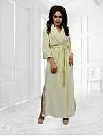 Шикарный длинный халат турецкий велюр высокого качества + кружево рукав 3/4 Размеры : с м л