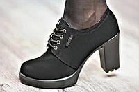 Туфли женские весна ботильоны черные искусственная замша платформа широкий каблук (Код: М1059)