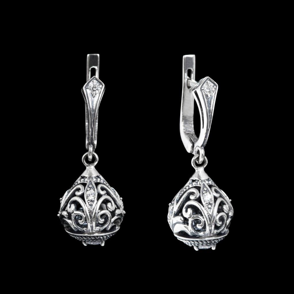 Серебряные серьги подвески Хохлома