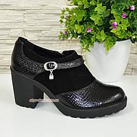 """Женские туфли на невысоком каблуке, натуральная замша и кожа """"питон"""", фото 1"""
