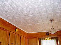 Поклейка  пенопластовых панелей на потолок (потолочных плит)