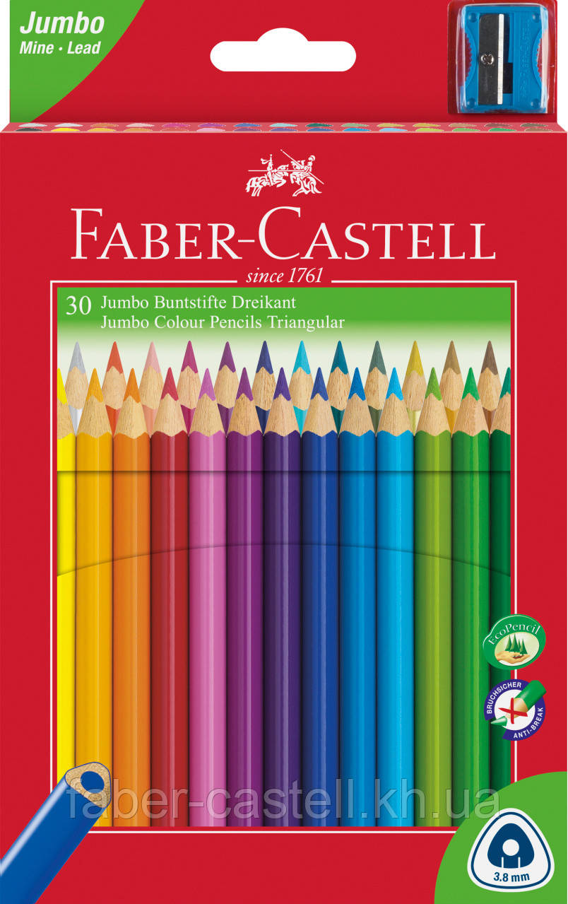 Карандаши цветные утолщенные Faber-Castell JUMBO 30 цветов трехгранные + точилка, 116530